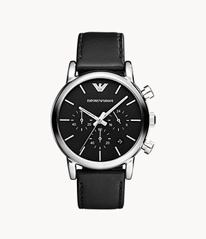 Emporio Armani Three-Hand Black Leather Watch