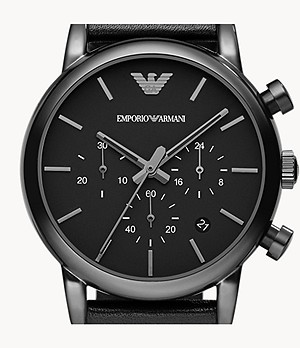 Emporio Armani Chronograph Black Leather Watch