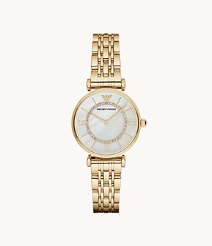 Emporio Armani Women's Two-Hand Gold-Tone Stainless Steel Watch