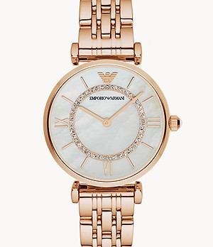 Emporio Armani Women's Two-Hand Rose Gold-Tone Steel Watch