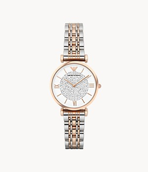 Emporio Armani Women's Two-Hand Two-Tone Steel Watch