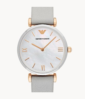 Emporio Armani Women's Two-Hand Gray Leather Watch