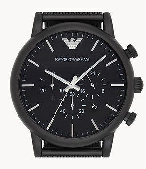 Emporio Armani Chronograph Black Stainless Steel Mesh Watch