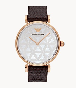 Emporio Armani Women's Two-Hand Brown Leather Watch