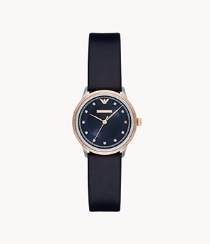 Emporio Armani Women's Three-Hand Blue Leather Watch