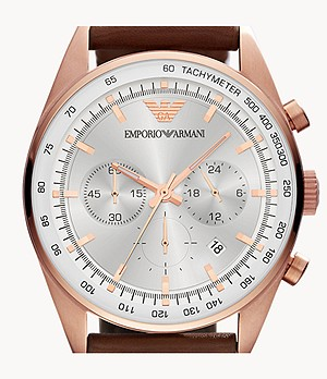 Emporio Armani Men's Two-Hand Brown Leather Watch