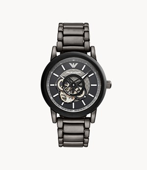 Emporio Armani Men's Automatic Gunmetal Stainless Steel Watch