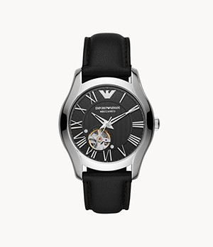 Emporio Armani Automatic Black Leather Watch