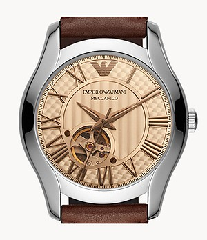 Emporio Armani Automatic Brown Leather Watch