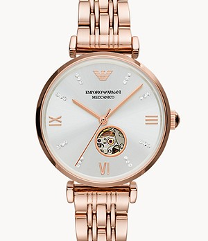 Emporio Armani Three-Hand Rose Gold-Tone Stainless Steel Watch