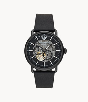 Emporio Armani Multifunction Black Leather Watch