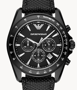 Emporio Armani Men's Chronograph Black Mixed Watch
