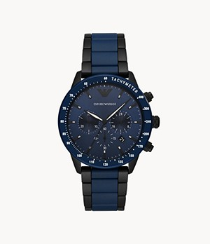 Emporio Armani Chronograph Two-Tone Stainless Steel and Ceramic Watch