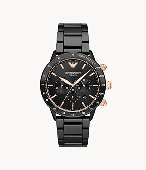 Emporio Armani Chronograph Black Ceramic Watch