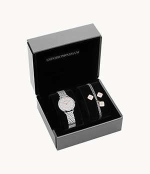 Emporio Armani Women's Two-Hand Steel Watch Gift Set