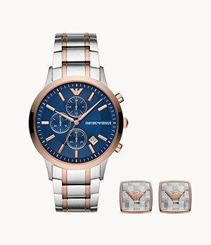 Emporio Armani Men's Chronograph Two-Tone Steel Watch Gift Set