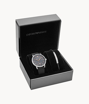 Emporio Armani Men's Three-Hand Date Black Leather Watch Gift Set