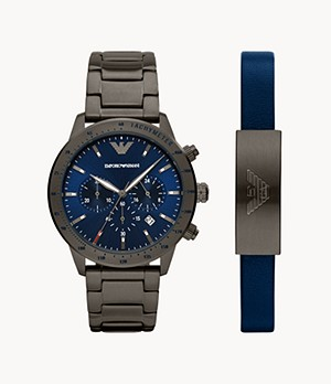 Emporio Armani Chronograph Gunmetal Stainless Steel Watch and Bracelet Set