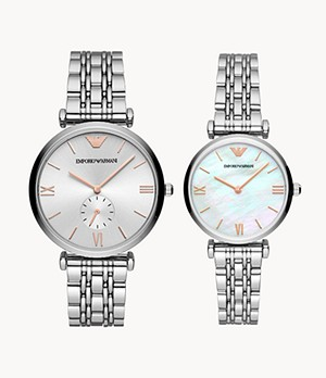 Emporio Armani Three-Hand Stainless Steel Watch Set