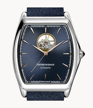 Emporio Armani Swiss Men's Automatic Three-Hand Blue Leather Watch