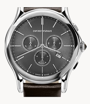 Emporio Armani Swiss Chronograph Brown Leather Watch