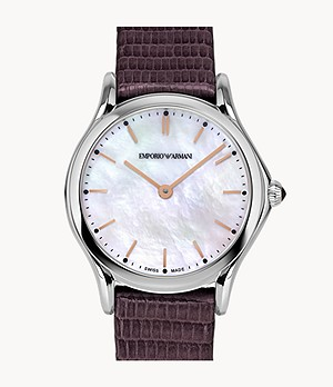 Emporio Armani Swiss Women's Two-Hand Purple Lizard Leather Watch