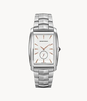 Emporio Armani Swiss Three-Hand Stainless Steel Watch
