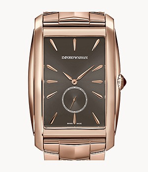 Emporio Armani Swiss Three-Hand Rose Gold-Tone Stainless Steel Watch