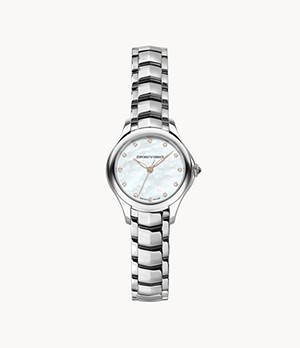 Emporio Armani Swiss Women's Three-Hand Steel Watch