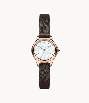 Emporio Armani Swiss Women's Three-Hand Brown Leather Watch