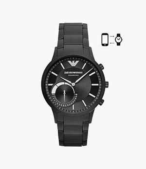 Emporio Armani Men's Black Stainless Steel Hybrid Smartwatch