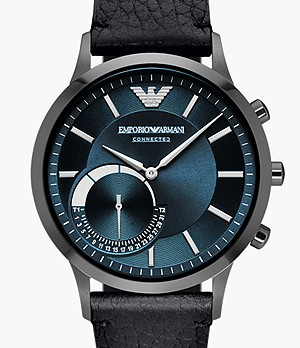 REFURBISHED Emporio Armani Men's Black Leather Hybrid Smartwatch