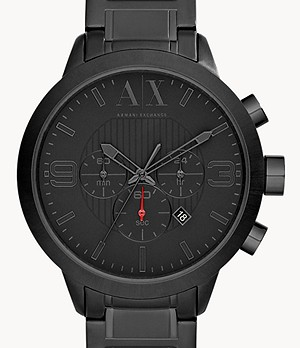 Armani Exchange Chronograph Black Stainless Steel Watch