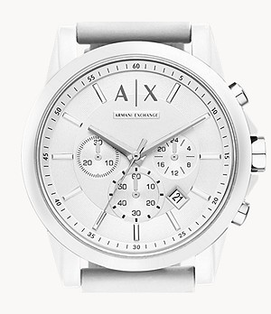 Armani Exchange Chronograph White Silicone Watch