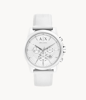 Armani Exchange Men's Chronograph White Silicone Watch