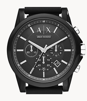 Armani Exchange Chronograph Black Silicone Watch