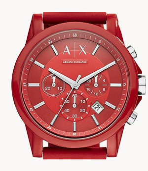 Montre chronographe en silicone rouge Armani Exchange