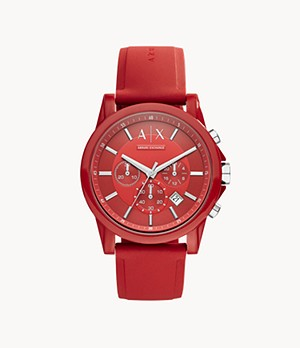 Armani Exchange Chronograph Red Silicone Watch