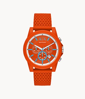 Armani Exchange Chronograph Orange Silicone Watch