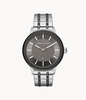 Armani Exchange Three-Hand Two-Tone Stainless Steel Watch with Diamond