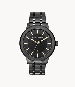 Armani Exchange Three-Hand Black Stainless Steel Watch with Diamond