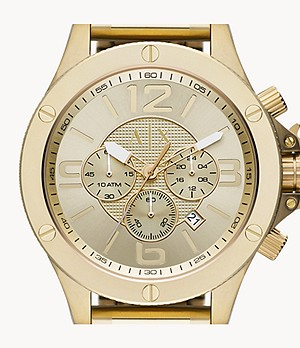 Armani Exchange Chronograph Gold-Tone Stainless Steel Watch