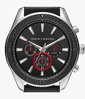 Armani Exchange Chronograph Black Leather Watch
