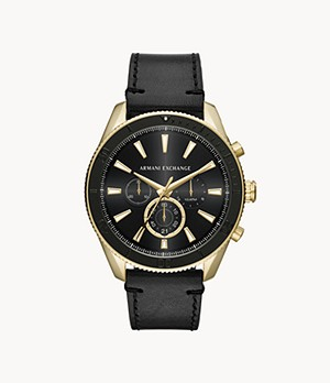 Montre chronographe en cuir noir Armani Exchange