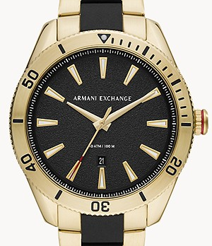 Armani Exchange Three-Hand Date Two-Tone Stainless Steel Watch