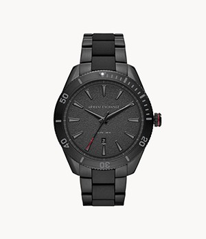 Armani Exchange Three-Hand Date Black Stainless Steel Watch