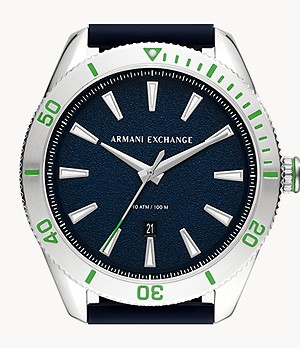 Armani Exchange Three-Hand Date Blue Silicone Watch