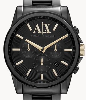 Armani Exchange Chronograph Black Steel Watch