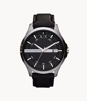 Armani Exchange Three-Hand Black Leather Watch