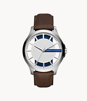 Armani Exchange Three-Hand Brown Leather Watch